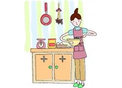 厨房里的卡通美女图片