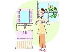 刷牙的卡通美女图片