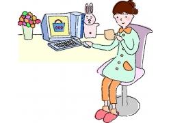 网上购物的卡通美女图片
