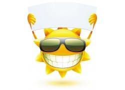 手拿广告牌的卡通太阳图片
