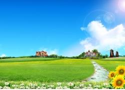 蓝天白云草地风景素材