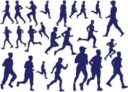 跑步的人物剪影