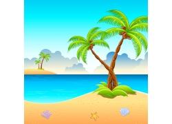 夏日海滩风景插画