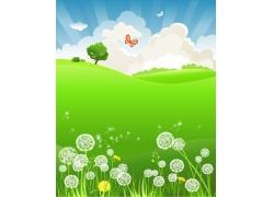 春天风景插画图片