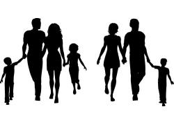 家庭人物剪影素材图片