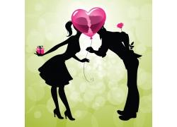接吻的卡通情侣图片