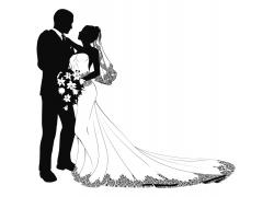 结婚人物剪影