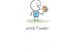 拿花朵的卡通儿童图片