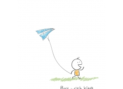 放风筝的卡通儿童图片