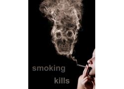 吸烟人物与骷髅头