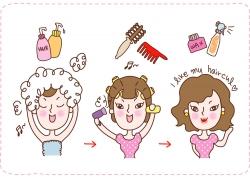 化妆品与卡通女孩图片
