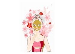 美容护肤的卡通美女图片