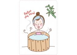 沐浴的卡通女孩图片