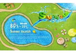 PSD海边旅游景点地图素材