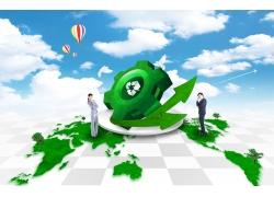 职业人物与绿色箭头