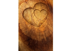 爱心树墩木制背景