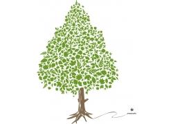 创意绿叶树木素材
