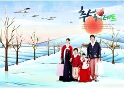 韩国家庭插画图片