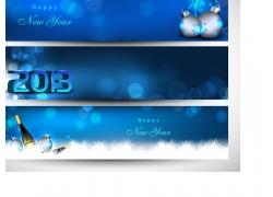 蓝色圣诞横幅模板