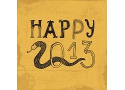 新年快乐主题蛇背景矢量素材