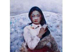 藏族女孩油画图片