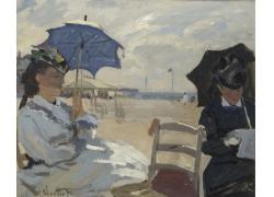 海边打伞的女孩油画图片