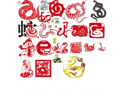 剪纸蛇新年素材