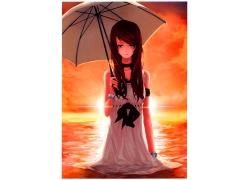 打伞的卡通女孩