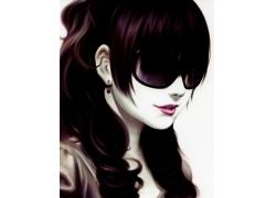 戴墨镜的卡通女孩图片