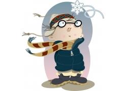 围围巾的卡通男孩图片