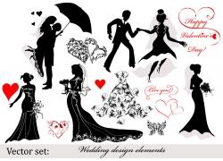 婚庆人物剪影素材图片
