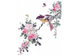 鲜花与小鸟插画背景