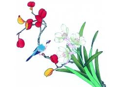 花朵与动物插画图片