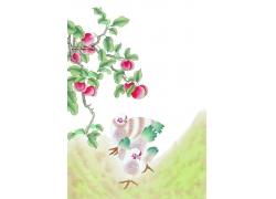 水果与动物插画图片