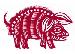 十二生肖之猪剪纸