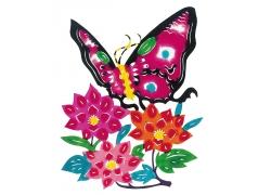 蝴蝶鲜花剪纸