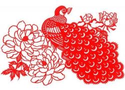 孔雀鲜花剪纸