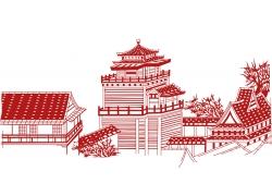 古典建筑风景剪纸