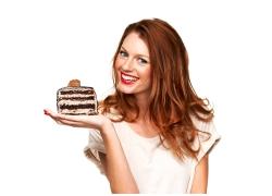 女性与蛋糕素材