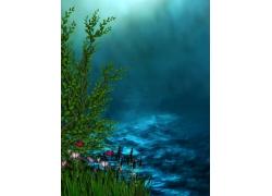 自然风光插画背景