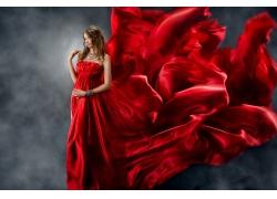 性感美女与红绸飘带