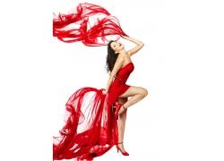 手拿红丝绸的性感美女