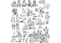 卡通手绘人物矢量素材图片
