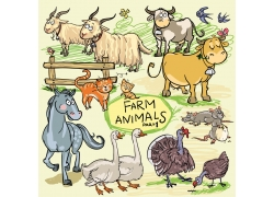 卡通家畜家禽漫画图片