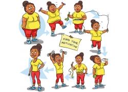 瘦身减肥的卡通美女图片