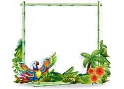 鹦鹉与广告牌背景图片