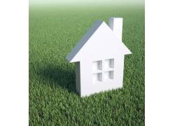 草地上的房子图片