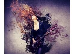 梦幻烟雾与弹吉他的美女