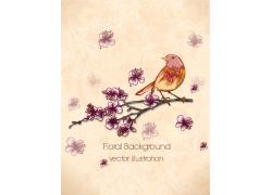 夏日美花和小鸟矢量背景素材