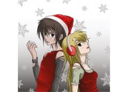 卡通圣诞装女孩图片